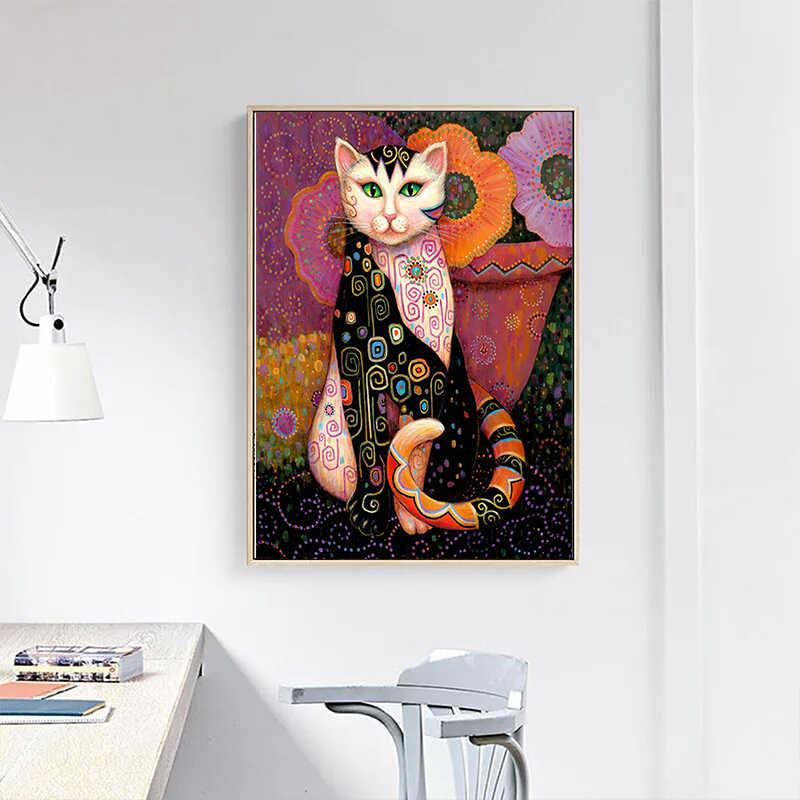 OUCAG グスタフ · クリムト猫油彩画現代抽象動物ポスターやプリント絵画ホーム装飾の写真