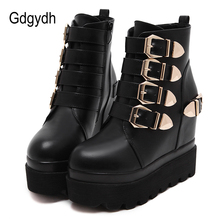 Gdgydh 2019 Autumn Women Ankle Boots Round Toe Gold Metal Buckles Short Boots Increasing High Heels Platform Female Boots Shoes