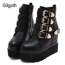Gdgydh 2019 Autumn Women Ankle Boots Round Toe Gold Metal Buckles Short Boots Increasing High Heels Platform Female Boots Shoes(China)
