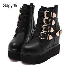 Gdgydh 2020 sonbahar kadın yarım çizmeler yuvarlak ayak altın Metal tokalar kısa çizmeler artan yüksek topuklu platformu kadın bot ayakkabı