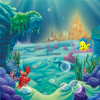 7X7ft Little Mermaid Birthday Party Photo Booth Backdrop Castle Under the Sea Corals Baby Girl Cartoon Photography Background