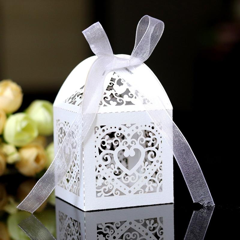 20/50/100 шт./компл. Love Heart лазерная резка, пустотелые сувениры в виде каретки с лентой, детский праздник, товары для свадебной вечеринки