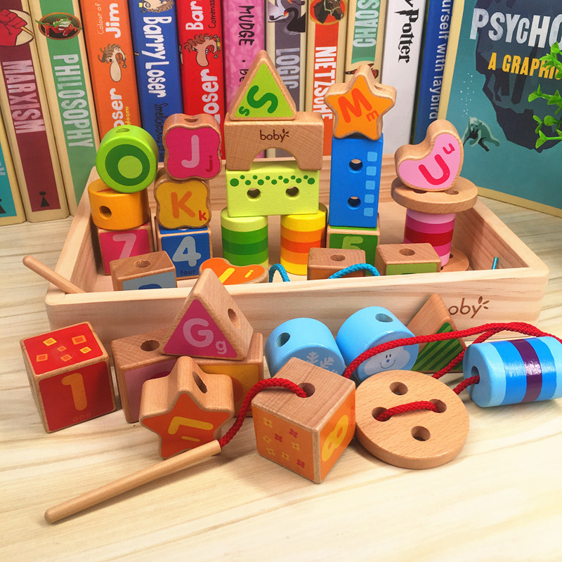Bobby Wooden Box Beaded Bracelet Building Blocks Children 3456-Year-Old Threading Educational Large Pieces To Build