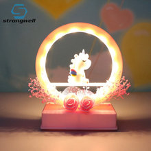 Strongwell Nordic Night Light Unicorn Dream Star Lights Table Lamp Girl Gifts Home Decoration Accessories Baby Cute Night Light(China)