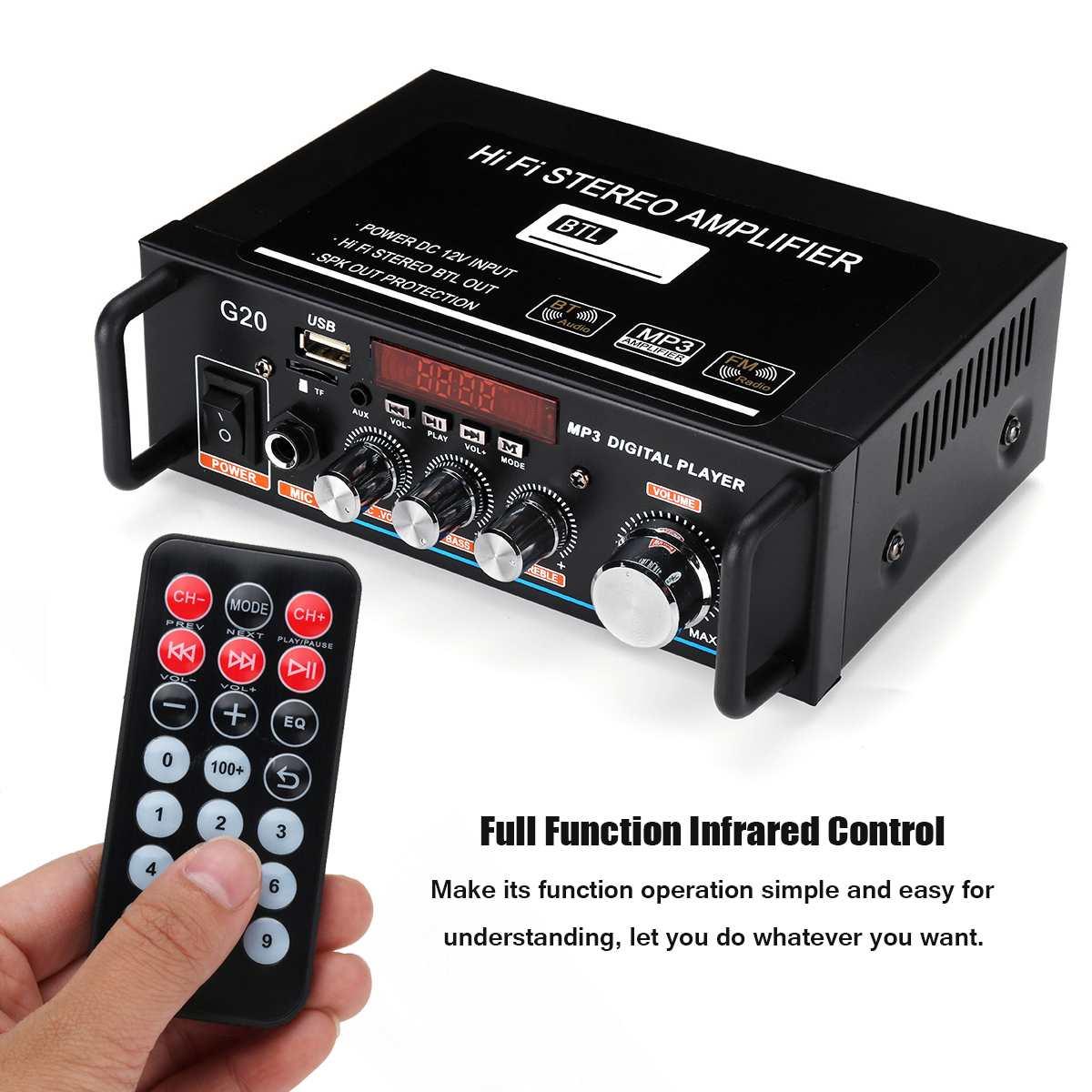 Car Amplifier 600W 220V/12V bluetooth Audio Amplifier Stereo LCD Display HIFI USB FM Radio SD MIC Port with Remote Control