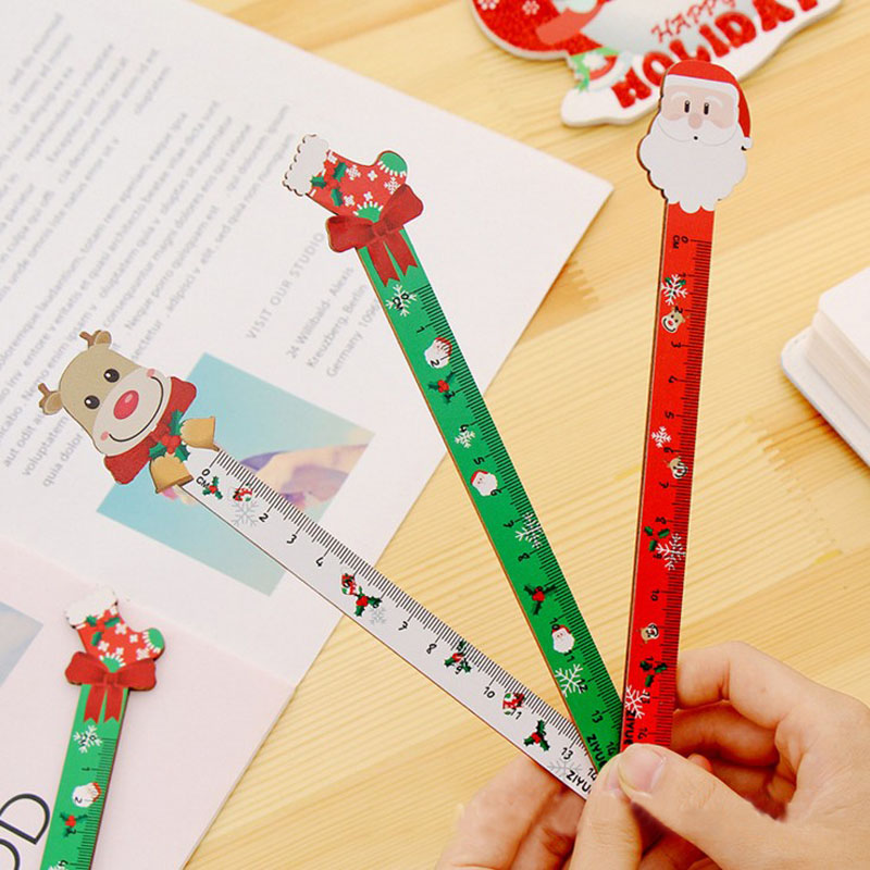 1 Pcs Kawaii Korean Cartoon Santa Clown Cactus Design Wooden Straight Ruler Measuring Straight Ruler Christmas Gift Stationery
