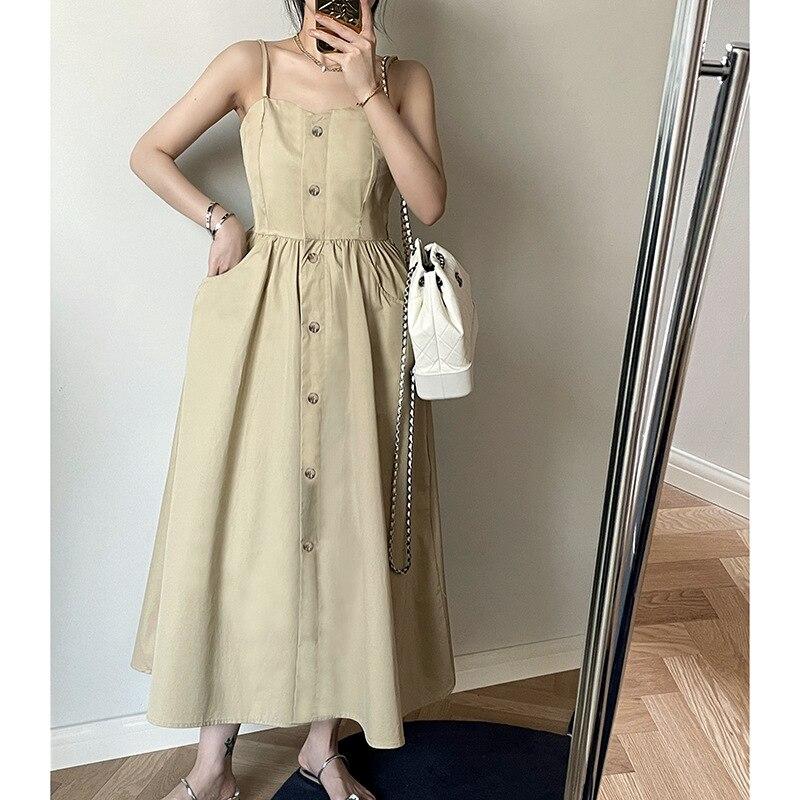 HXJJP 2021 летнее Новое корейское платье на бретельках женское однотонное повседневное длинное платье на пуговицах 3926