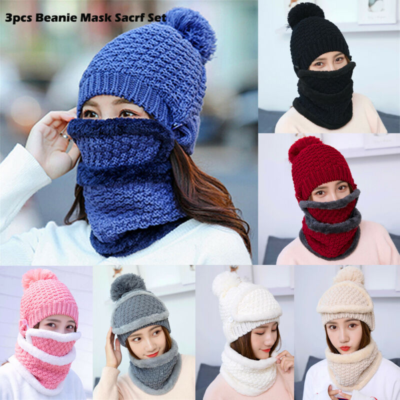 3 PCS New Winter Beanie Hat Scarf Set Fleece Warm Balaclava Snow Ski Cap For Kid Men Women