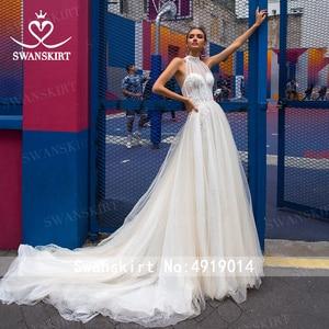 Image 3 - SwanskirtโรแมนติกA Lineชุดแต่งงาน2020 BohoลูกปัดAppliquesภาพลวงตารถไฟเจ้าหญิงชุดเจ้าสาวVestido De Novia F133