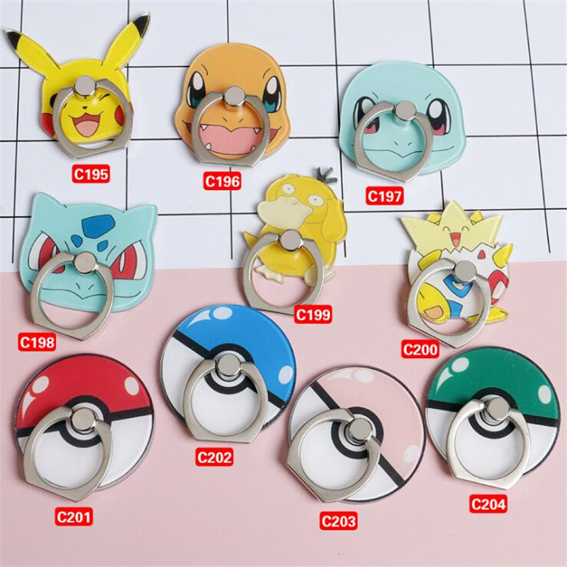 cartoon-anime-font-b-pokemon-b-font-peripheral-phone-holder-keychain-acrylic-ring-pikachu-bulbasaur-360-degree-rotation-phone-holder-gift