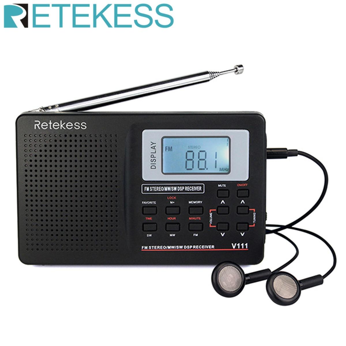 RETEKESS V111 Full Band Radio FM Stereo/MW/SW DSP World Band Receiver with Timing Alarm Clock Portable Radio Black F9201