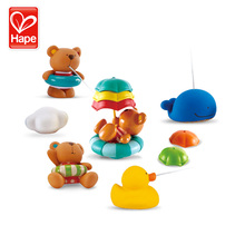 Hape baby bath toys water toy kids toys Swimming teddy rubber duck on swimming pool цена