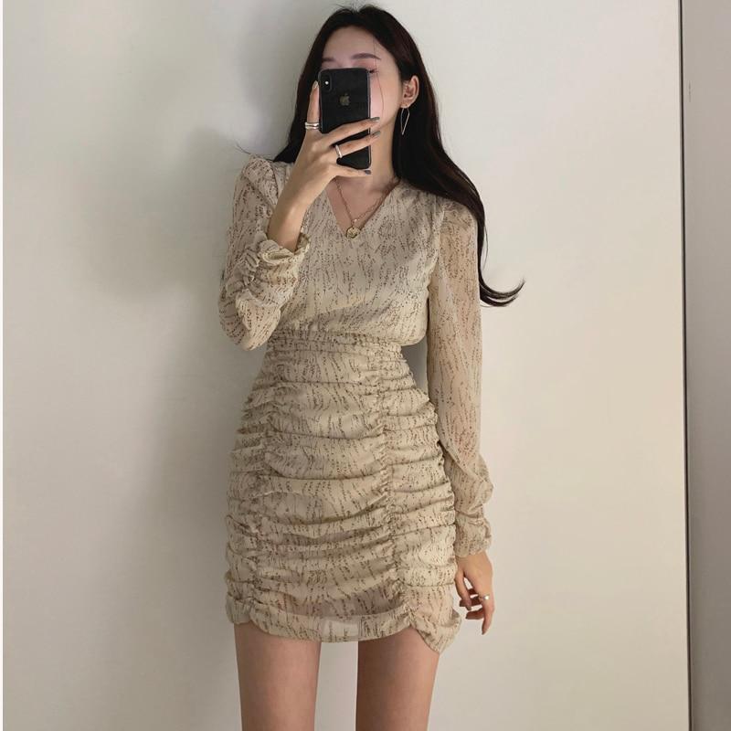 Hca8dadbeeb654156ab2dbf869e05b1b0Z - Autumn V-Neck Long Sleeves Chiffon Pleated Floral Print Mini Dress