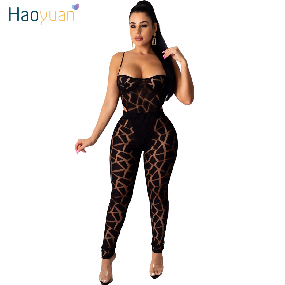 HAOYUAN Sexy Mesh Sheer Two Piece Set Summer Clother For Women Festival Bodysuit Pant Suits 2 Piece Club Outfits Matching Sets