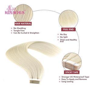 Image 2 - KS פאות רמי קלטת שיער טבעי זוגי Drawn ישר עור הערב שיער הרחבות 16 20 24 10 יח\אריזה