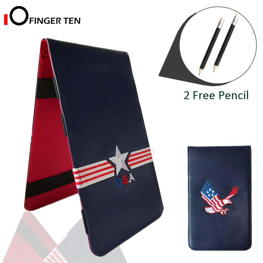 Golf Scorecard Holder Leather Yardage Books Cover With 2 Free Pencil USA Star Eagle Gift Pack