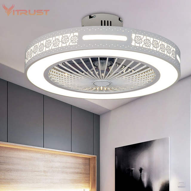 US $84.5 35% OFF|Modern Ceiling Fan Lights Dining Room Bedroom Living  remote control Fan Lamps Invisible Ceiling Lights Fan Lighting Small  Office-in ...