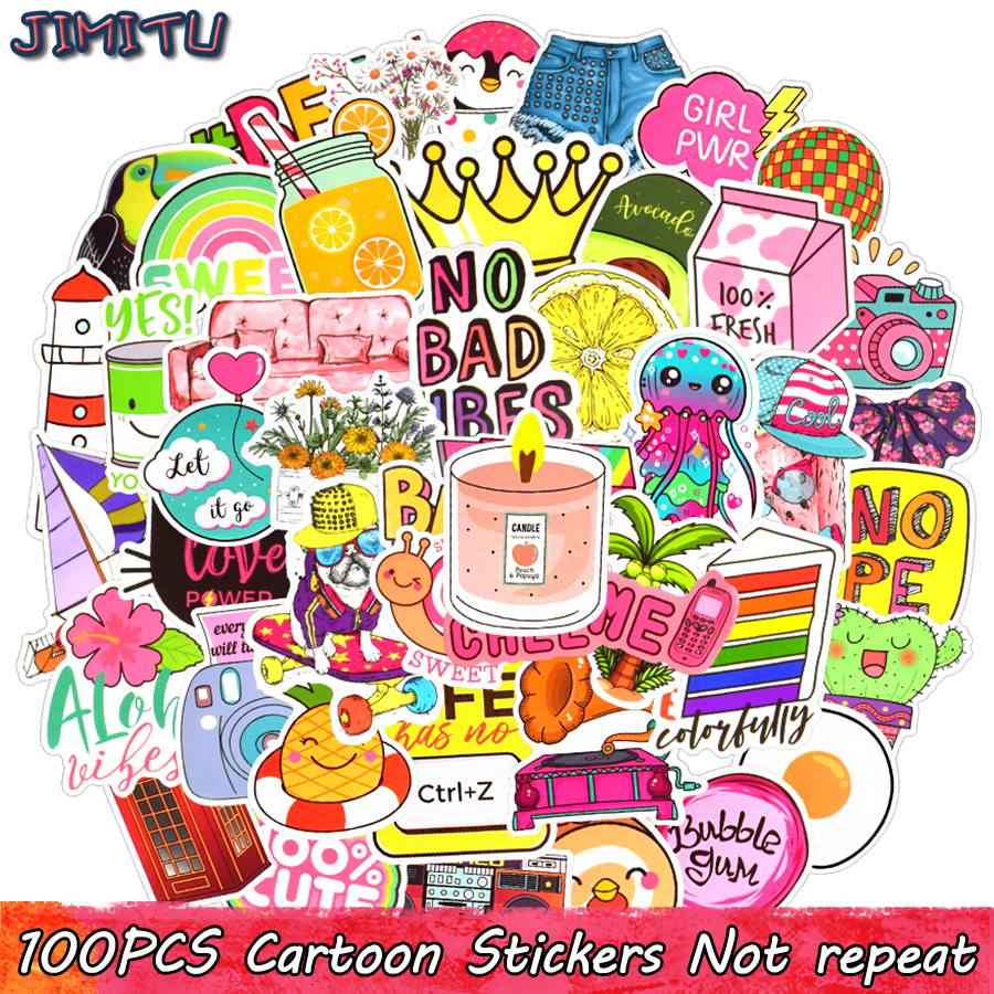 100 PCS Pink Graffiti Stickers For Kids Lovely Cartoon Vsco Decal Sticker DIY Laptop Travel Case Tablet Phone Skateboard Guitar