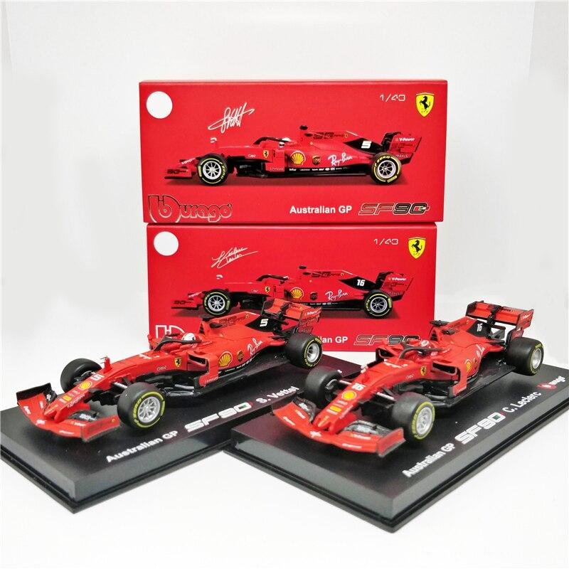 BBurago 1:43 Ferrari F1 2019 SF90 #5 Sebastian Vettel  #16 Charles Leclerc Signature Series Racing Diecast Car