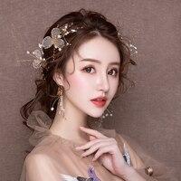 Handmade Golden Headdress Hair Jewelry Set for Wedding Bride Princess Headpiece Hairpins with Clip On Earrings Costume Headband
