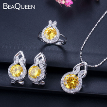 9 Colors Option Trendy 925 Sterling Silver Jewelry Yellow Crystal Round CZ Stone Earring Necklace Ring Sets For Women JS011