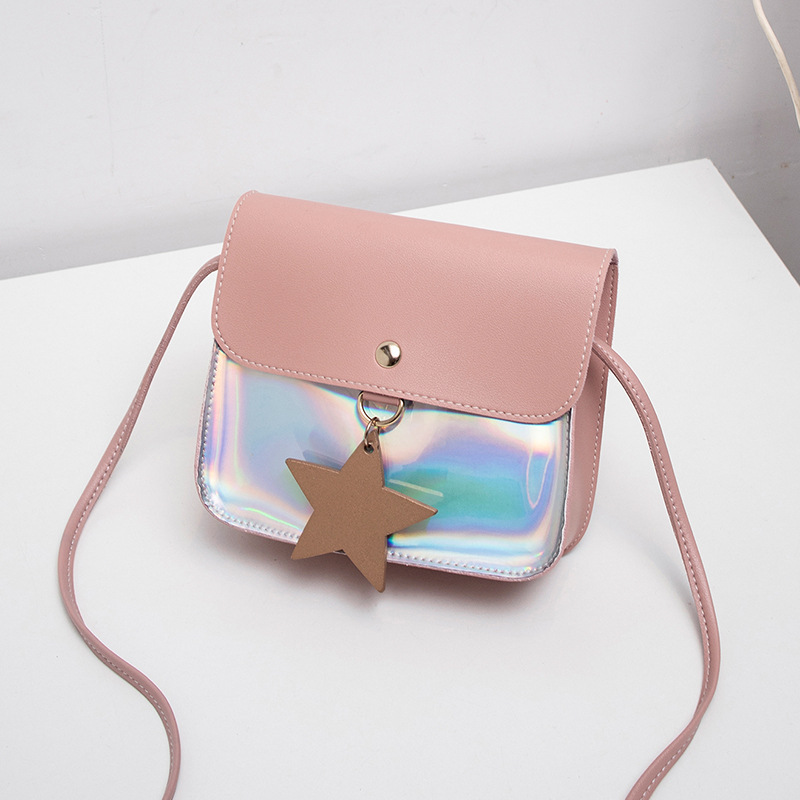 Shoulder Bags For Women 2019 Girl Purse Handbag Children Solid Transparent Laser Leather Messenger Bags Candy Coin Purse Wallet