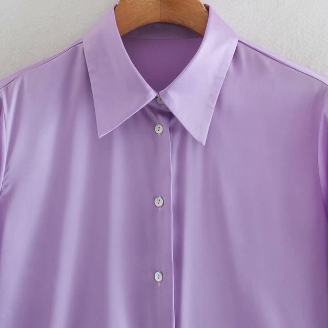 2020 New Fashion Silk Solid color Women Blouses Long Sleeve Turn-down Collar Chiffon Blouse Shirt Casual Tops Loose Work Shirt 4