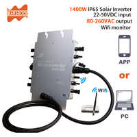 CE Certification IP65 1400W MPPT On Grid Micro Solar Inverter, 22-50VDC to 80-280VAC, workable for 4x350W 400W solar panel.