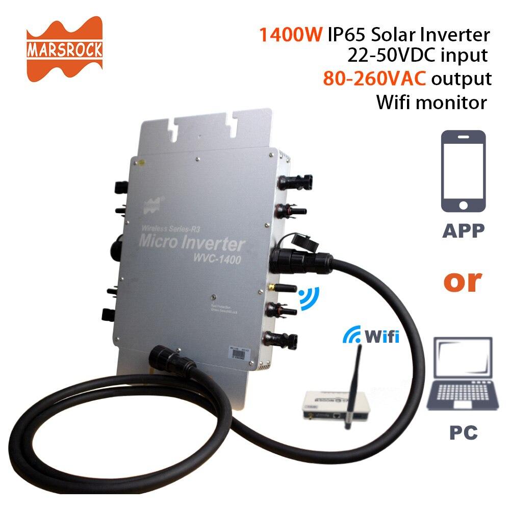 Certificação ip65 1400 w mppt do ce no inversor solar da grade micro, 22-50vdc a 80-280vac, praticável para o painel solar de 4x350 w 400 w.