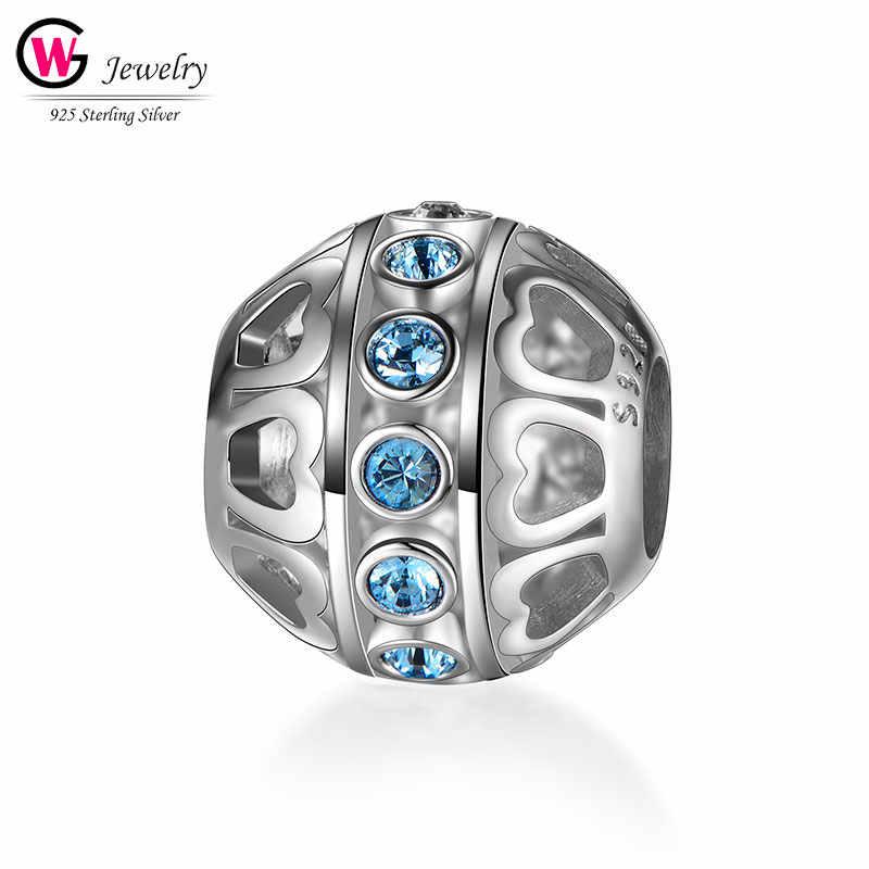 Модные серебряные Шарм-шарики 925, подходят для женских браслетов, Женские Ювелирные аксессуары, синие CZ блестящие подвески, бусины для женщин DIY