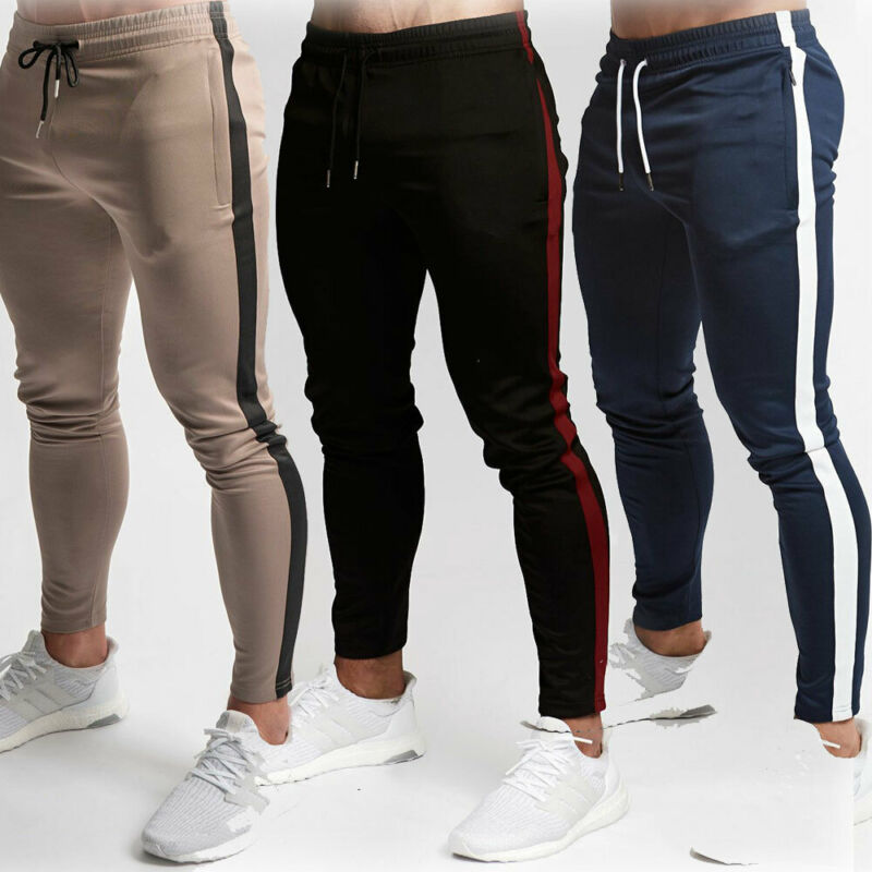 Fashion Mens Casual Slim Fit Sports Gym Pants Jogger Drawstring Running Trousers Striped Sweatpants