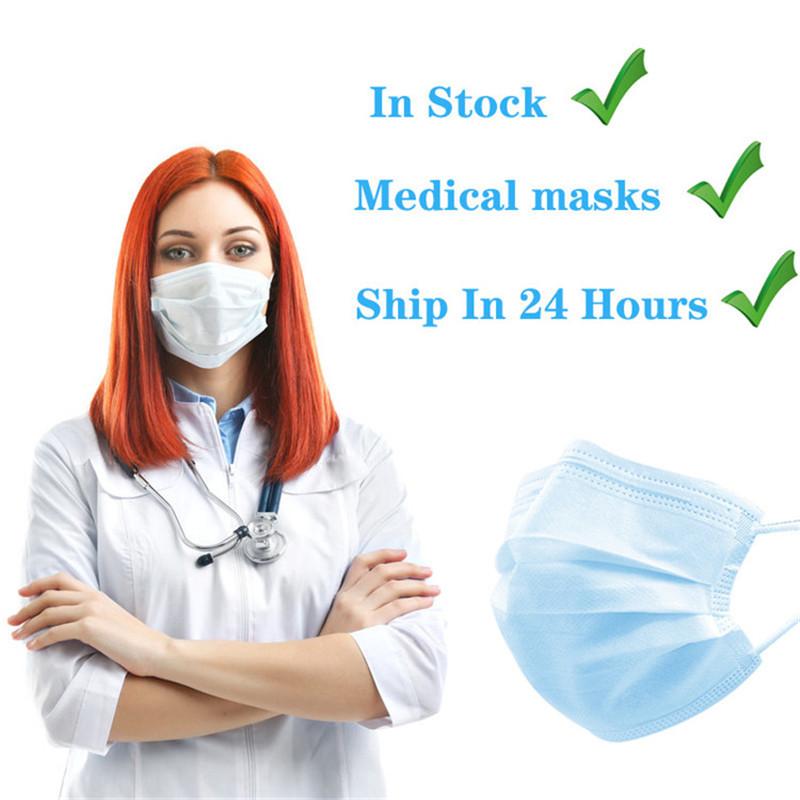 100pcs Mouth Mask 3 Layers Anti-Dust Disposable Dustproof Facial Protective Face Masks Safe Health Masker 24 Hours Fast Shipping