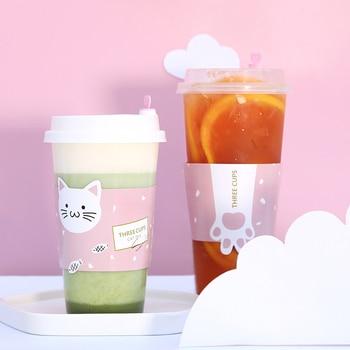 50pcs Net red thick transparent hard plastic cups birthday favors 500ml cute cartoon dipsosable coffee milk tea juice drinks cup