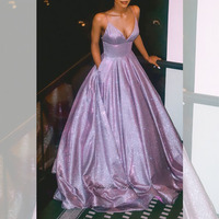 Charming Sparkly Prom Dresses 2020 With Pockets Sexy V neck Long Dress For Party Spaghetti Strap Formal Gown Lace Up Back