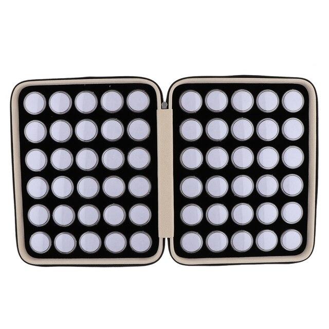 60 חתיכות יהלומים מיני תצוגת תיבת חן אחסון מקרה עם נייד עור מפוצל תיק נשיאה