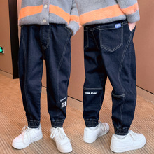 Boys Jeans 2021 Spring Autumn Big Children Korean Trousers  Sporting Jogger Casual Pant  Elastic Waist Pants Clothes 12 14 Years
