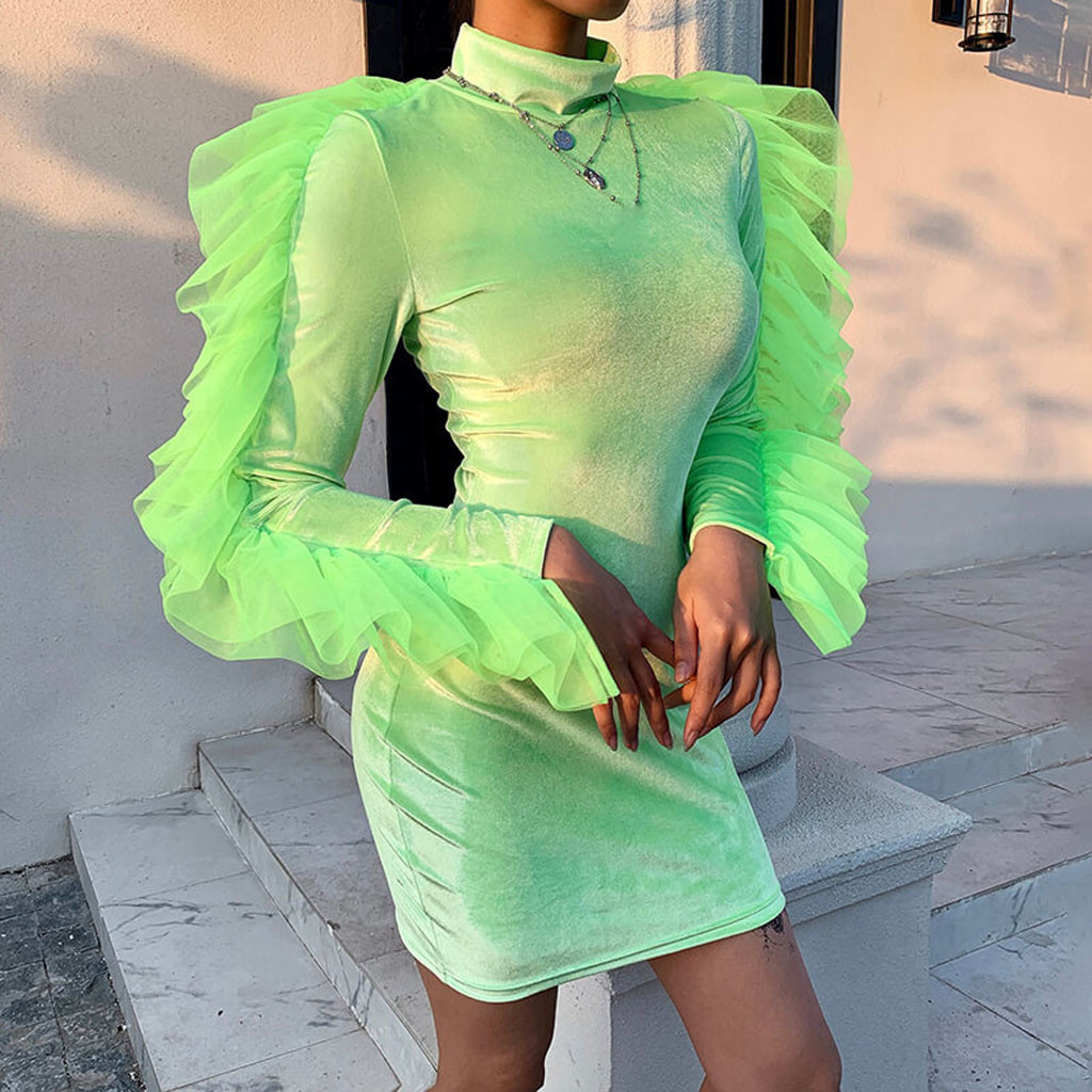 Mesh Ruffles Patchwork Sexy Mini Dress Women Turtleneck Neon Green Bodycon Dresses Ladies Autumn Long Sleeve Wrap Dress#4