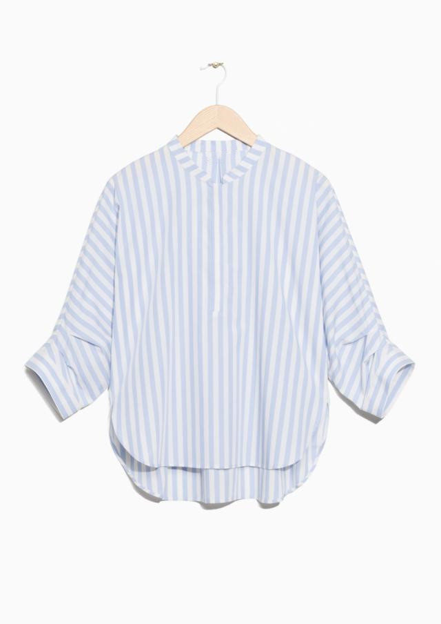 O Neck Stripe Shirt Women Casual Side Curved Split Seven Sleeves Loose Cotton Blouse