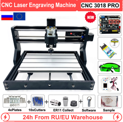 EU/RU/US CNC 3018 Pro 500mW 2500mW 5500mW 15W Laser Engraving Router Machine for Wood Working GRBL Offline Control