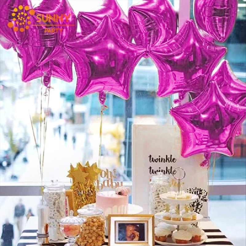 9 pz/set Confetti Palloncino In Lattice star Foglio di alluminio Palloncino Bambino Doccia Da Sposa Festa di Compleanno Della Decorazione Della Casa di Colore Solido di Aria Palloncino