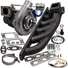 400+HP T04E Universal Turbocharger W/ Exhaust Manifold for BMW E36 M3 I6 92 99 4AN+Turbo Bradied Oil Feed Inlien Line Kit