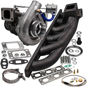 Image 1 - 400+HP T04E Universal Turbocharger W/ Exhaust Manifold for BMW E36 M3 I6 92 99 4AN+Turbo Bradied Oil Feed Inlien Line Kit