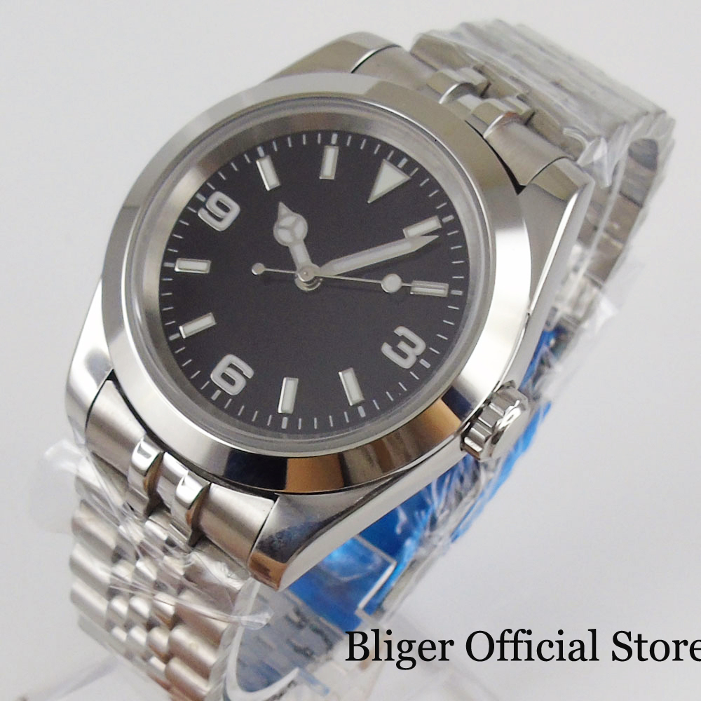 BLIGER Stainless Steel Automatic Men Watch 39mm Polished Case MIYOTA Movement Sterile Dial Jubilee Band
