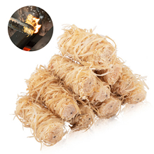 15PCS Fireplace Lighters Eco Wood Firelighters Fire Starters Natural Wood Wool Wax Silk Roll For Outdoor Camping BBQ