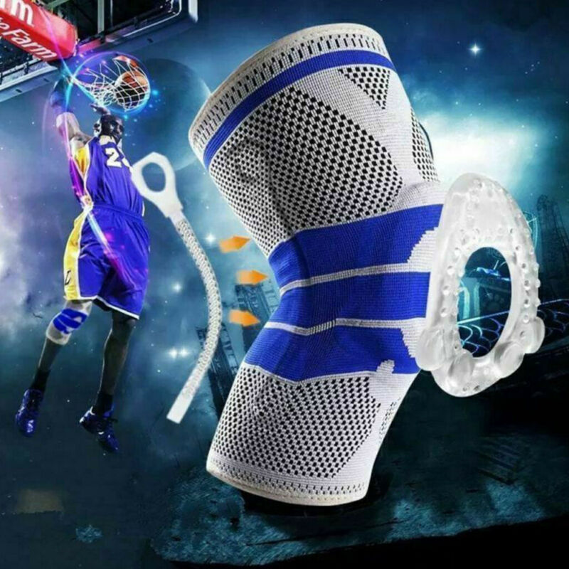 Silicone Spring Full Knee Brace Strap Patella Medial Support Strong Meniscus Compression Protection Sport Pads Running Basket