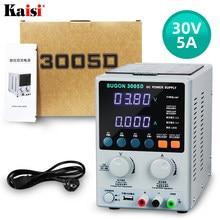SUGON-fuente de alimentación 3005D de 30V, 5A, CC, pantalla ajustable de 4 dígitos, suministro de energía de laboratorio, regulador de voltaje de 110/220V para reparación de teléfonos