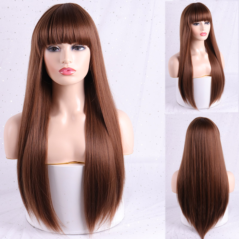 MERISI HAIR Long Black Brown Wigs With Bangs Heat Resistant Synthetic Straight Wigs For Women African American Fake Hair