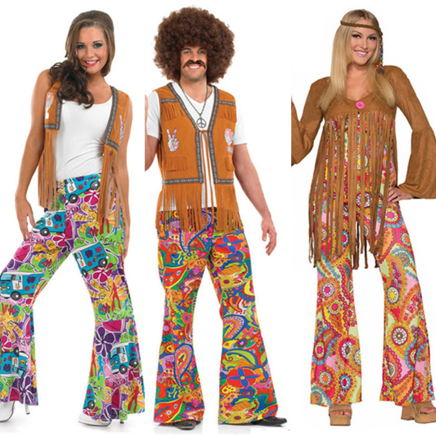 New Halloween Hippie Costumes For Men Vintage 1970s Disco Stage Performance Dancing Suit Rock Women Hippies Cosplay Set Carnival