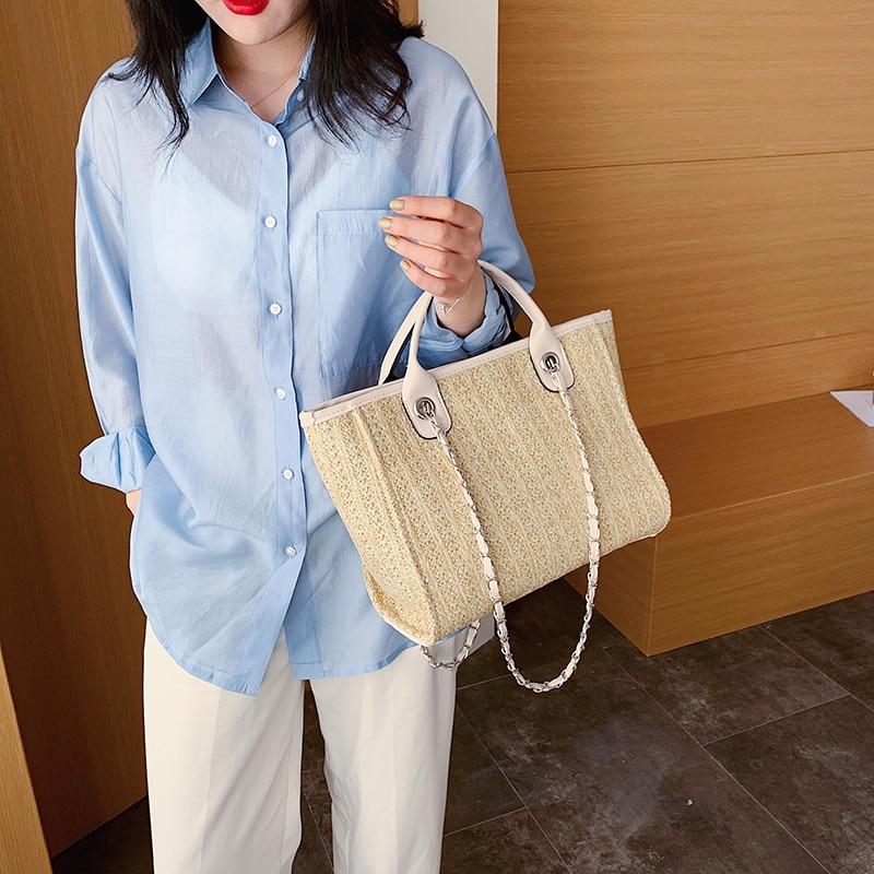 Fashion Women Straw Handbags High Quality Ladies Large Capacity Shoulder Messenger Bag Casual Summer Female Beach Tote Bags New