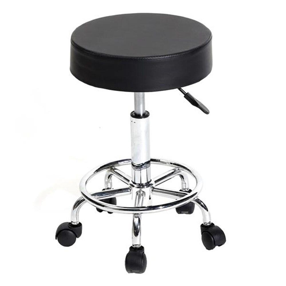 360°Rotation Round Stool Ha Ha Feet Rotation Bar Stool White Bar Chair With Five Casters